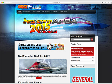 Quake on The Lake Website